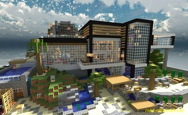 Luxurious modern house 2 map 1 8 1 mod for Minecraft modern house download 1 8