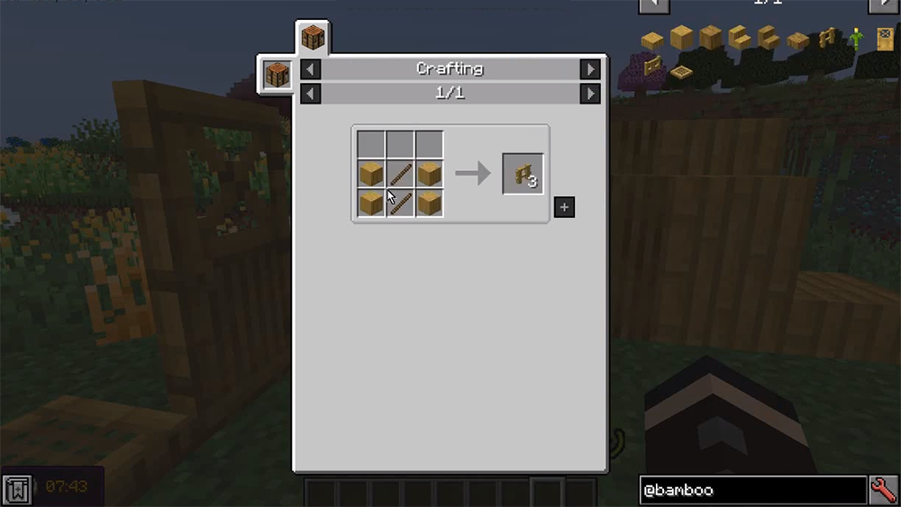 Bamboo Blocks mod for minecraft recipes 05