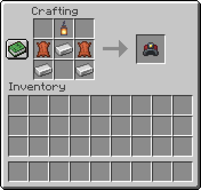 Miners Helmet mod for minecraft recipes 01