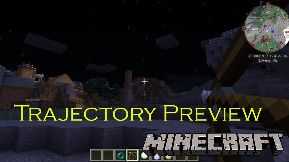 Trajectory Preview mod for minecraft