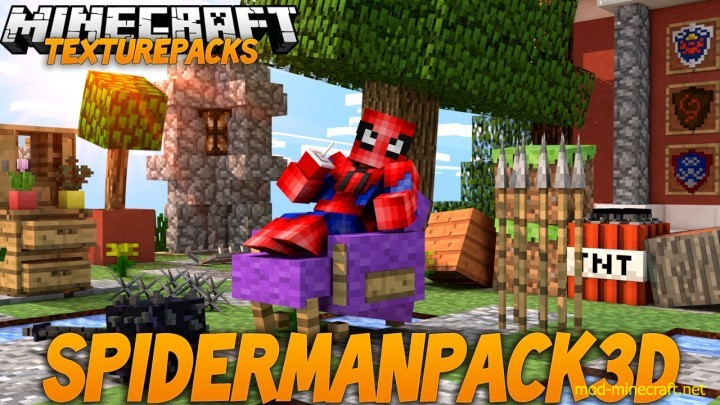 Spiderman 3d resource pack [1.9.4/1.8.9] [16x] SpiderMan 3D Texture Pack Download